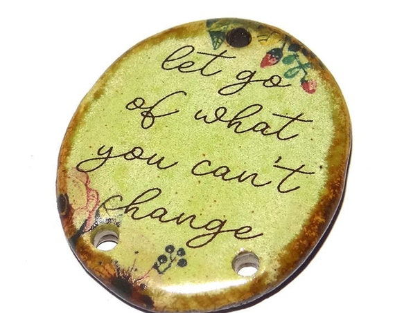 Ceramic Quote Pendant Word Handmade Focal Inspirational Motivational Flowers