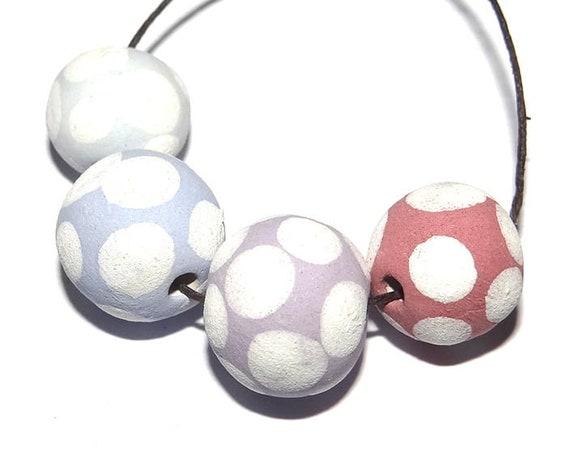 Handmade Ceramic Beads Dotty Spotty Porcelain Matte