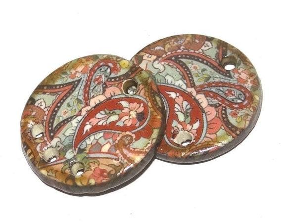 Ceramic Earring Charms Pair Handmade Rustic Paisley