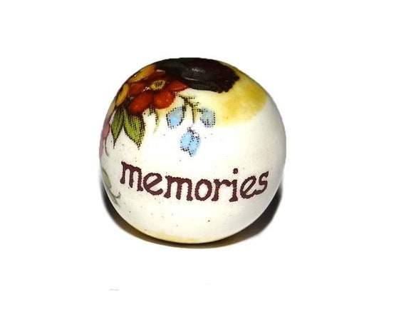 1 Ceramic Focal Quote Bead Floral Memories Words Word