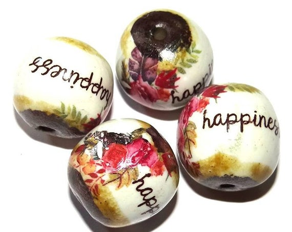1 Large Ceramic Quote Focal Bead Handmade Happiness