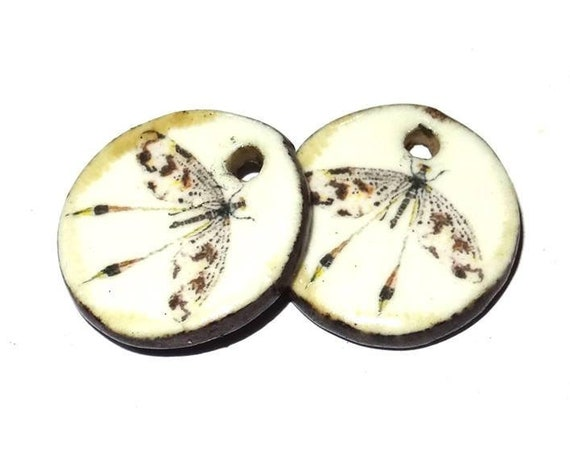 Ceramic Earring Charms Pair Handmade Rustic Insect