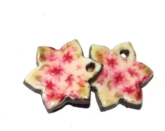 Ceramic Flower Earring Charms Pair Rustic Stoneware Pottery
