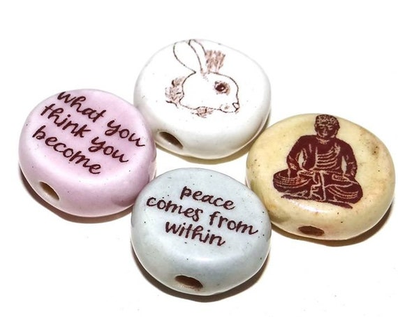Ceramic Quote Bead Set Message Aspiration Inspirational Motivational Buddha Peace Serenity