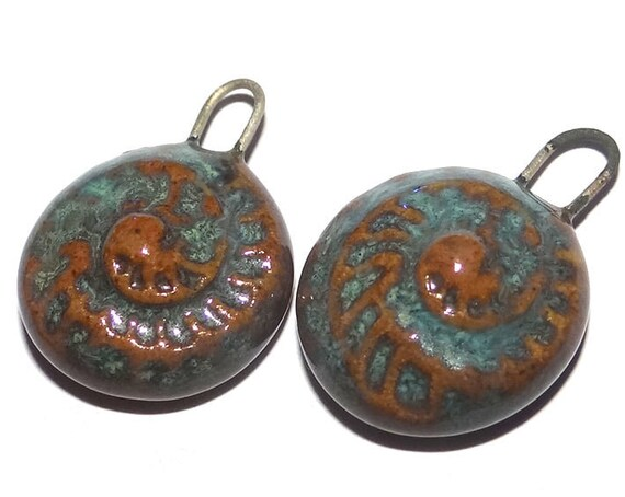 Ceramic Ammonite Charms Pair Porcelain Handmade
