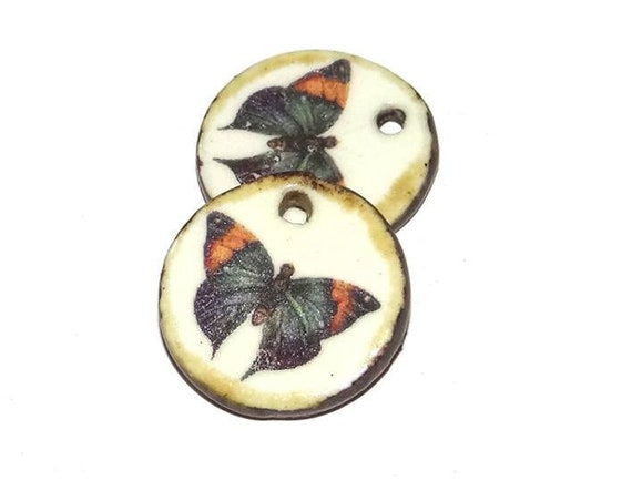 Ceramic Butterfly Earring Charms Pair Stoneware Pottery