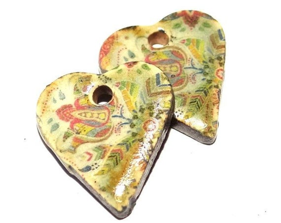 Ceramic Earring Charms Pair Stoneware Pottery