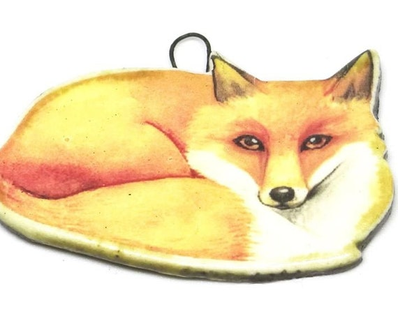 Ceramic Fox Pendant Handmade Focal Wildlife Porcelain