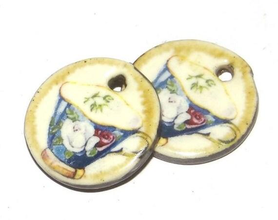 Ceramic China Tea Cup Earring Charms Pair Handmade Porcelain