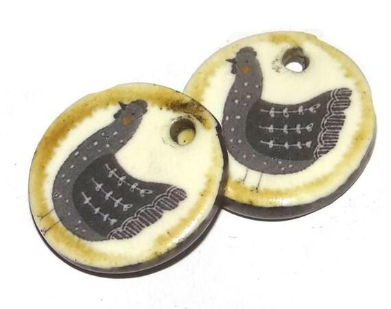 Ceramic Chicken Hen Earring Charms Pair Handmade Porcelain