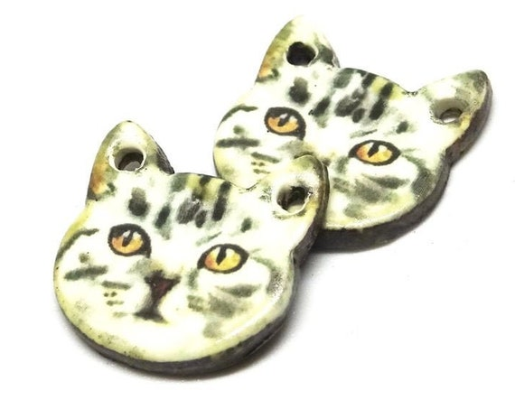Ceramic Grey Cat Earring Charms Pair Beads Handmade Rustic