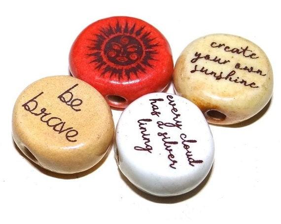 Ceramic Quote Bead Set Message Aspiration Inspirational Motivational