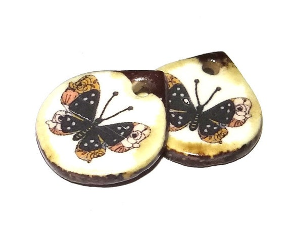 Ceramic Butterfly Earring Charms Pair Beads Handmade Rustic