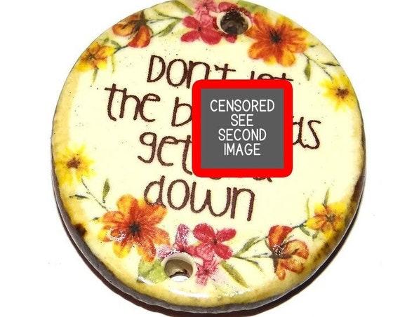"Ceramic Quote Pendant Word Handmade Focal Inspirational 35mm 1.4"" CP6-2"