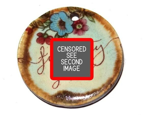 "Ceramic Quote Pendant Word Handmade Focal Inspirational 30mm 1.2"" CP6-1"