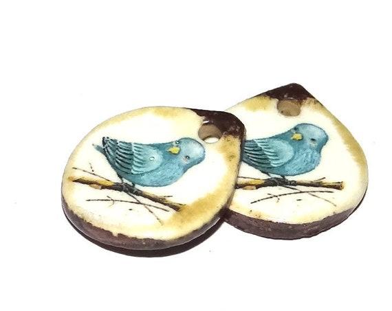 Ceramic Bird Earring Charms Pair Beads Handmade Rustic