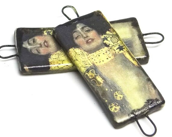 Ceramic Klimt Earring Charms Pair Beads Handmade Rustic