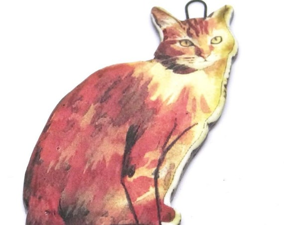 Ceramic Cat Pendant Handmade Focal Ginger