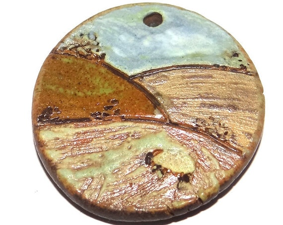 Ceramic Countryside Sheep Fields Landscape Cottage Pendant Rustic Stoneware Pottery Matte