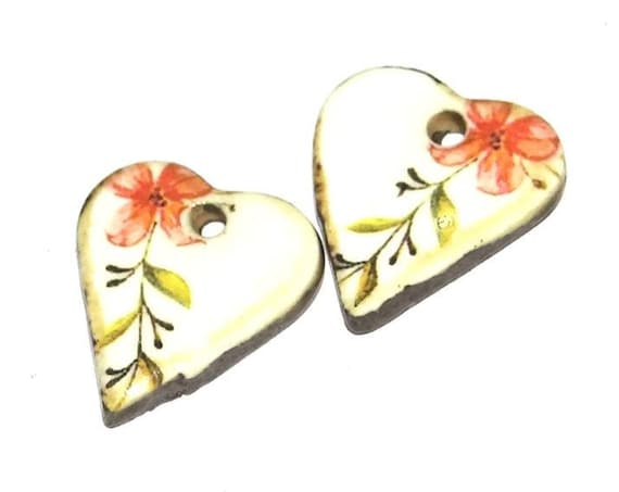 Ceramic Earring Charms Pair Handmade Rustic Hearts Floral