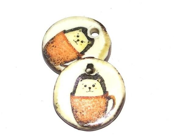 Ceramic Earring Charms Pair Handmade Rustic Hedgehog