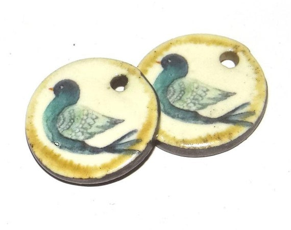 Ceramic Bird Earring Charms Pair Handmade Porcelain