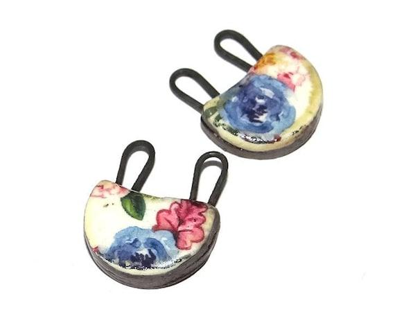 Ceramic Earring Charms Pair Handmade Rustic Floral Flowers
