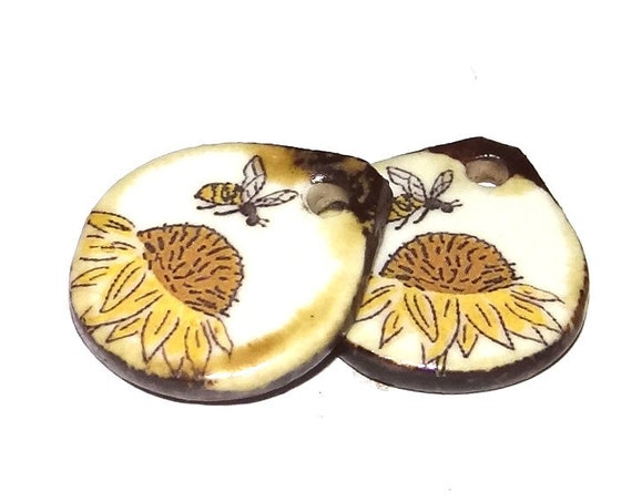 Ceramic Bee Sunflower Earring Charms Pair Beads Handmade Rustic