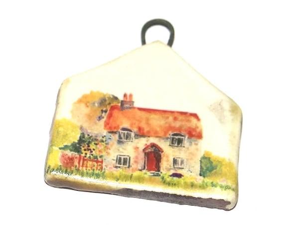 Ceramic House Pendant Handmade Focal