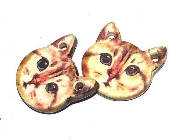 Ceramic Cat Earring Charms Pair Beads Handmade Rustic