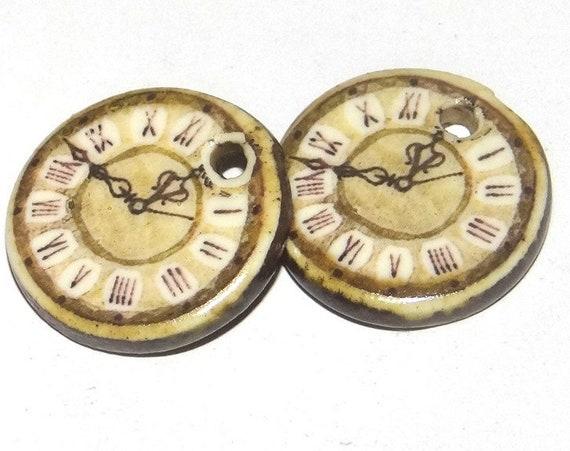 Ceramic Clock Earring Charms Pair Handmade Porcelain