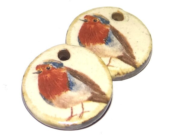 Ceramic Robin Bird Winter Earring Charms Pair Porcelain