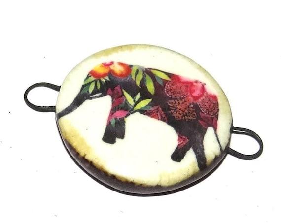 Ceramic Connector Handmade Pendant Porcelain Elephant Floral Bohemian Boho