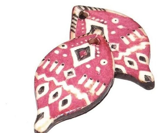 Ceramic Leaf Leaves Tribal Earring Charms Pair Beads Handmade Rustic Pink