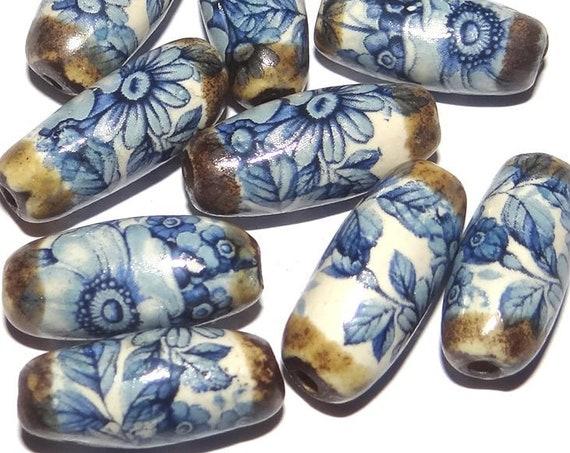 1 Ceramic Floral Bead Handmade Porcelain