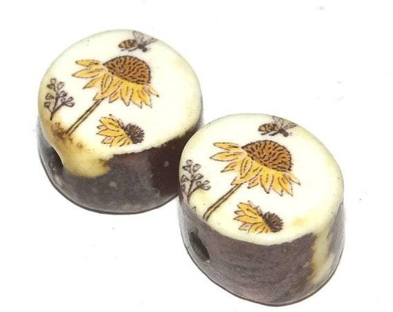 Ceramic Bee Sunflower Bead Pair Set Porcelain Handmade Pottery Beads