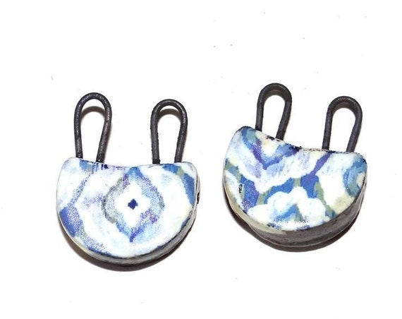 Unusual Ceramic Earring Charms Pair Stoneware Pottery