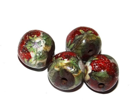 Ceramic Strawberry Bead Set Stoneware Handmade Pottery Beads Rustic Earthy Flower