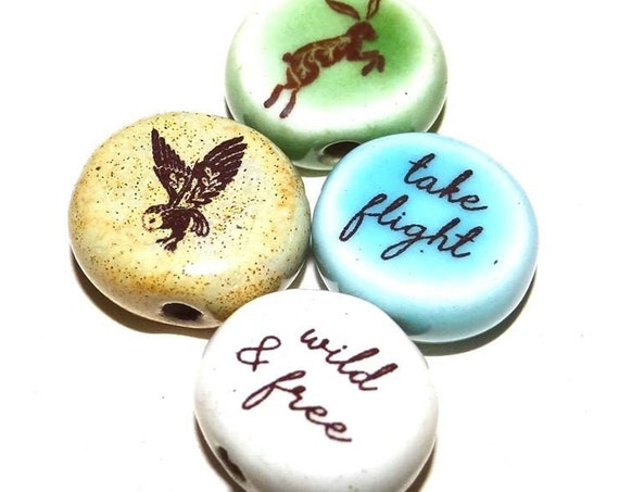Ceramic Quote Bead Set Message Aspiration Inspirational Motivational Wild & Free Wildlife Nature
