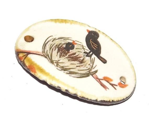 Ceramic Bracelet Bar Cuff Floral Handmade Porcelain Bird Nest