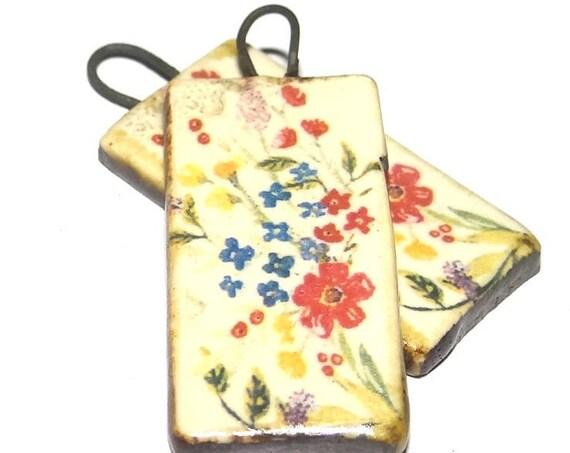 Ceramic Floral Dropper Charms Pair Porcelain