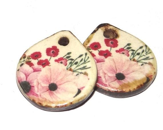 Ceramic Floral Charms Pair Porcelain