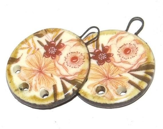 Ceramic Earring Charms Pair Handmade Rustic Floral