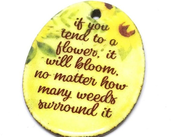 Ceramic Quote Pendant Word Handmade Focal Inspirational Motivational Bloom