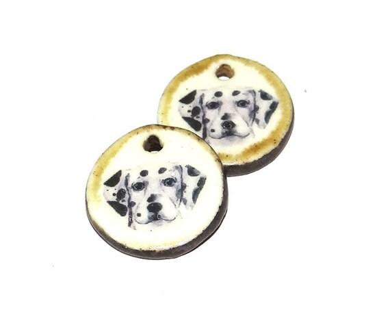 Ceramic Dalmatian Dog Earring Charms Pair Handmade Porcelain