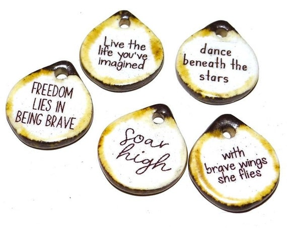 Ceramic Quote Charm Set Handmade Pottery Words Inspirational Word Beads