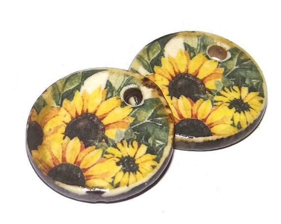 Ceramic Sunflower Charms Pair Porcelain