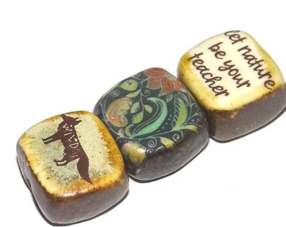 Ceramic Quote Bead Set Cube Beads Handmade Fox Inspirational Wildlife Forest