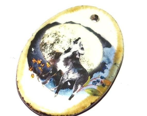 Ceramic Wolf Moon Handmade Focal Pendant Porcelain