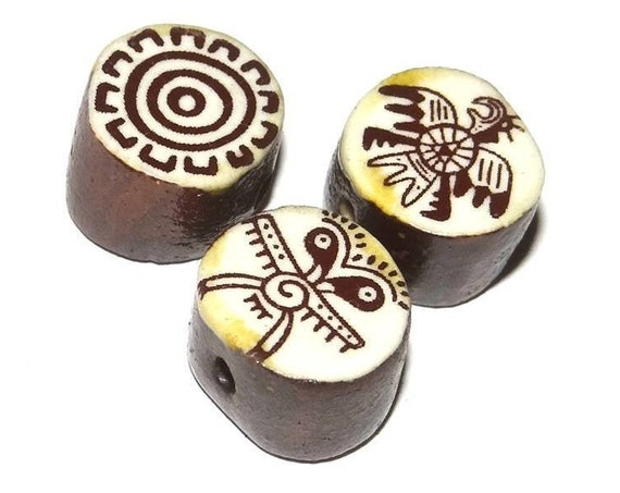 Ceramic Cave Drawings Bead Set Stoneware Handmade Pottery Beads Rustic Earthy